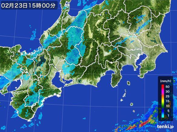 東海地方の雨雲レーダー(2015年02月23日)