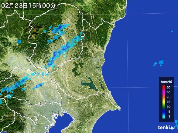 茨城県の雨雲レーダー(2015年02月23日)