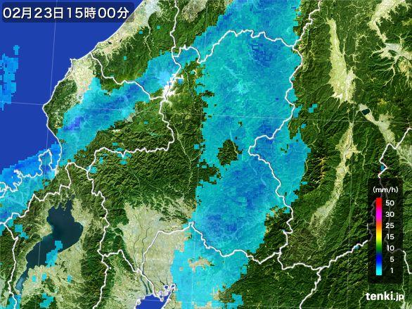 岐阜県の雨雲レーダー(2015年02月23日)