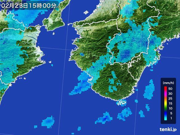 和歌山県の雨雲レーダー(2015年02月23日)