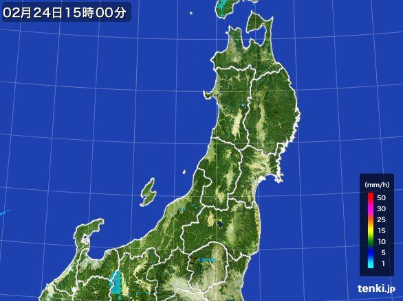 東北地方の雨雲レーダー(2015年02月24日)