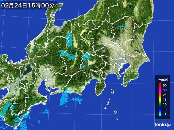 関東・甲信地方の雨雲レーダー(2015年02月24日)