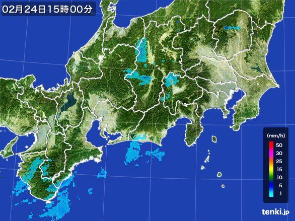 東海地方の雨雲レーダー(2015年02月24日)