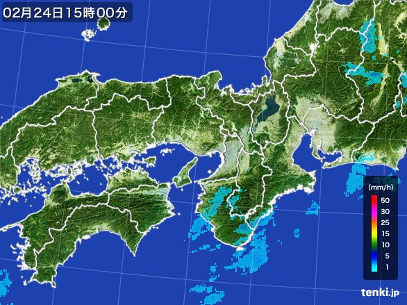 近畿地方の雨雲レーダー(2015年02月24日)