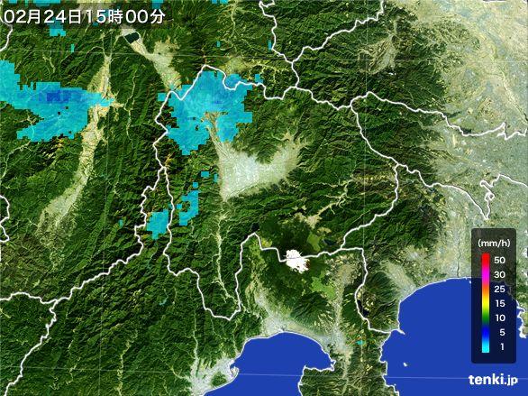山梨県の雨雲レーダー(2015年02月24日)
