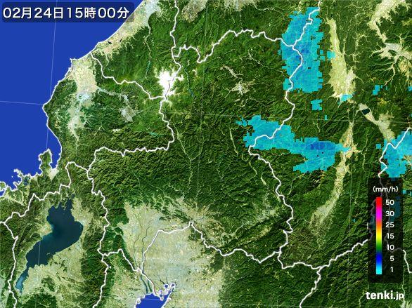 岐阜県の雨雲レーダー(2015年02月24日)