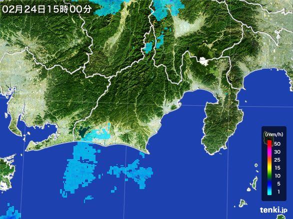 静岡県の雨雲レーダー(2015年02月24日)