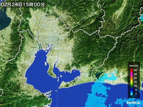 愛知県の雨雲レーダー(2015年02月24日)