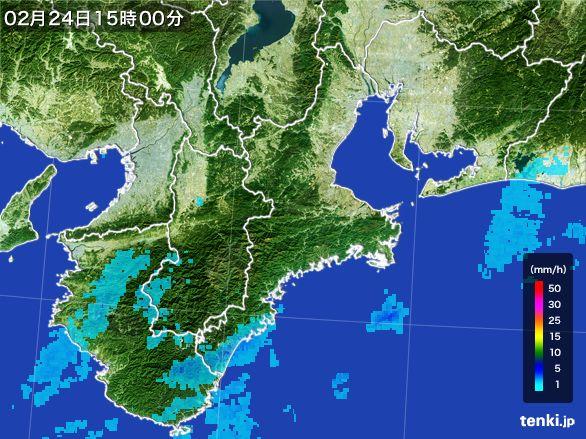 三重県の雨雲レーダー(2015年02月24日)