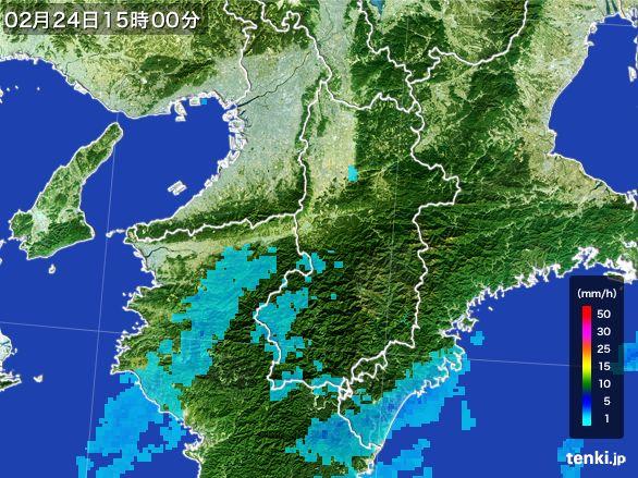 奈良県の雨雲レーダー(2015年02月24日)