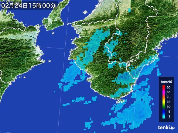 和歌山県の雨雲レーダー(2015年02月24日)