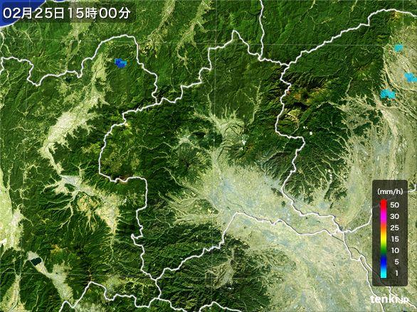 群馬県の雨雲レーダー(2015年02月25日)