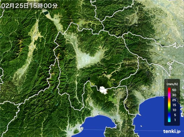 山梨県の雨雲レーダー(2015年02月25日)