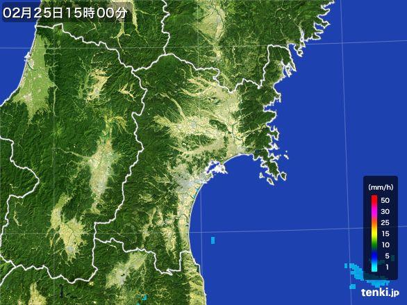 宮城県の雨雲レーダー(2015年02月25日)