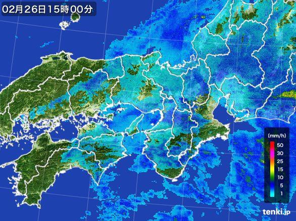近畿地方の雨雲レーダー(2015年02月26日)