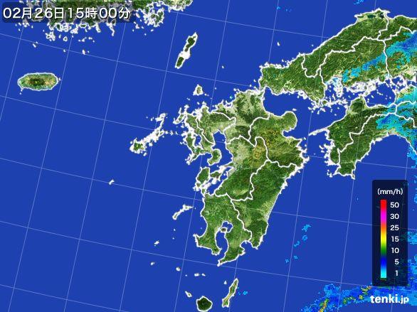 九州地方の雨雲レーダー(2015年02月26日)