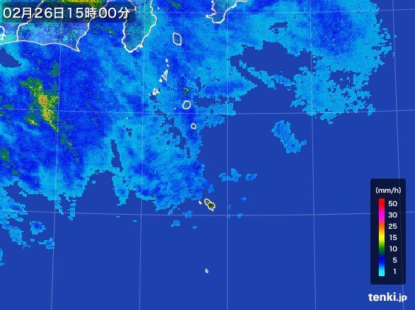 伊豆諸島(東京都)の雨雲レーダー(2015年02月26日)