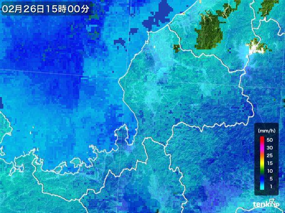 福井県の雨雲レーダー(2015年02月26日)