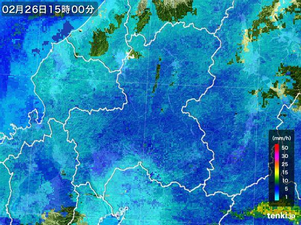 岐阜県の雨雲レーダー(2015年02月26日)