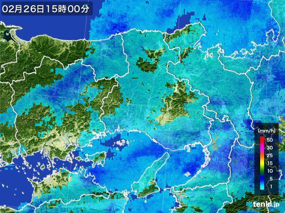 兵庫県の雨雲レーダー(2015年02月26日)