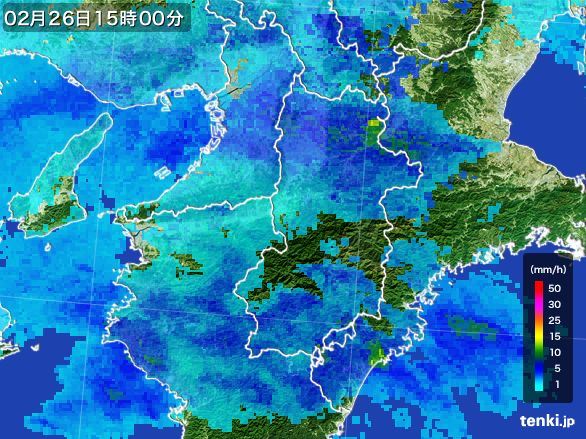 奈良県の雨雲レーダー(2015年02月26日)