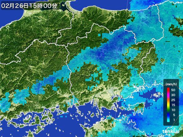 岡山県の雨雲レーダー(2015年02月26日)