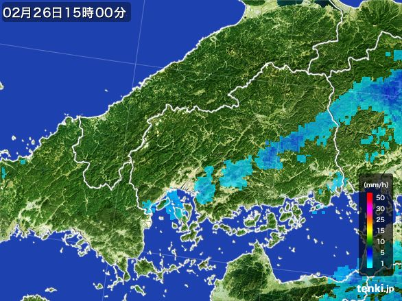 広島県の雨雲レーダー(2015年02月26日)