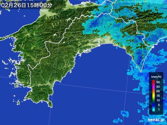 高知県の雨雲レーダー(2015年02月26日)