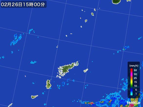 奄美諸島(鹿児島県)の雨雲レーダー(2015年02月26日)