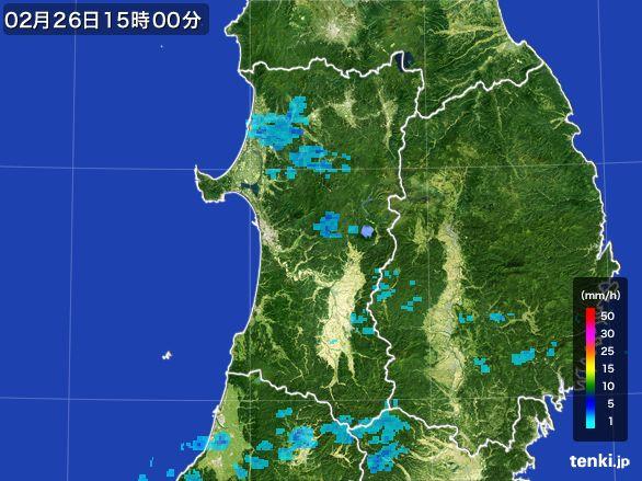 秋田県の雨雲レーダー(2015年02月26日)