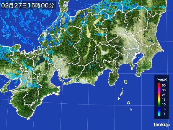 東海地方の雨雲レーダー(2015年02月27日)