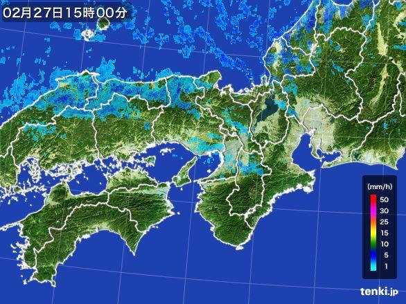 近畿地方の雨雲レーダー(2015年02月27日)