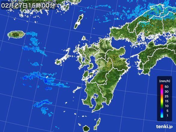 九州地方の雨雲レーダー(2015年02月27日)