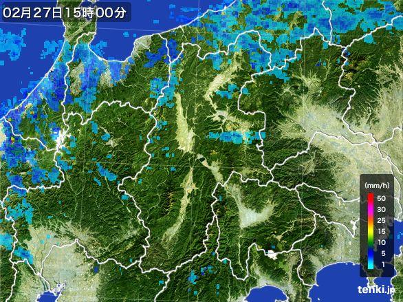 長野県の雨雲レーダー(2015年02月27日)