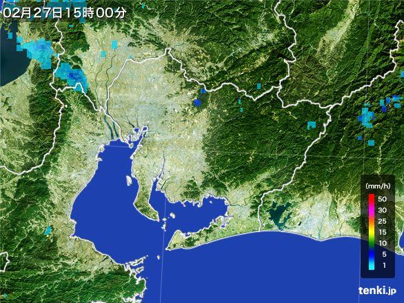 愛知県の雨雲レーダー(2015年02月27日)