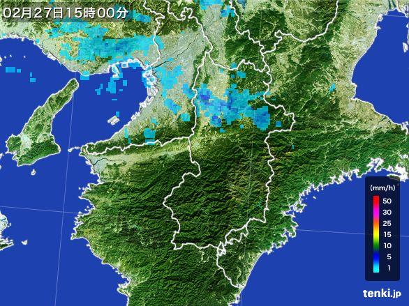 奈良県の雨雲レーダー(2015年02月27日)