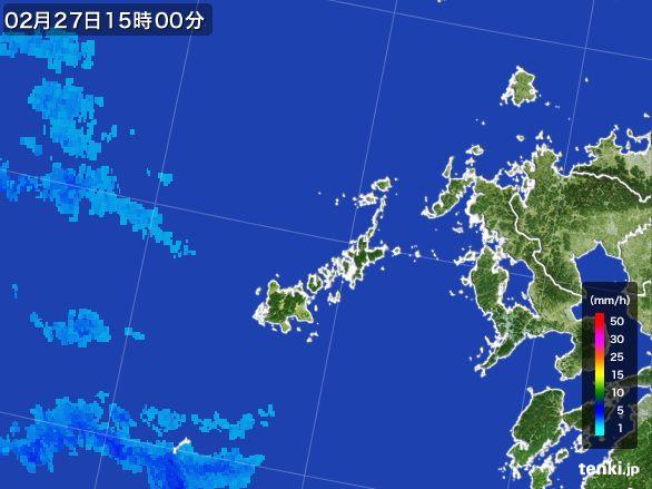 五島列島(長崎県)の雨雲レーダー(2015年02月27日)