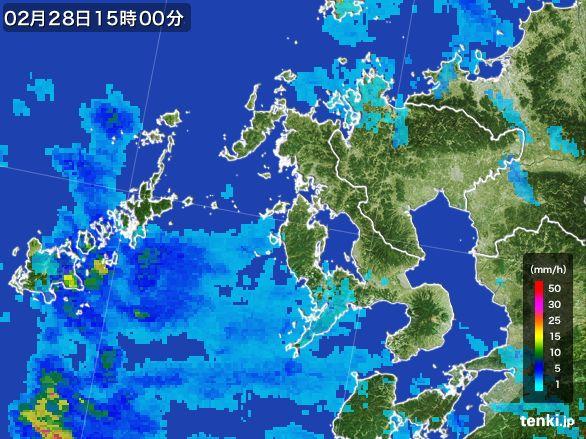 長崎県の雨雲レーダー(2015年02月28日)