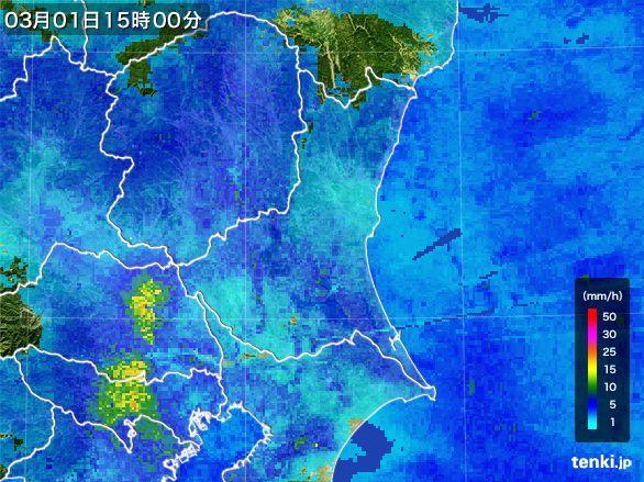 茨城県の雨雲レーダー(2015年03月01日)