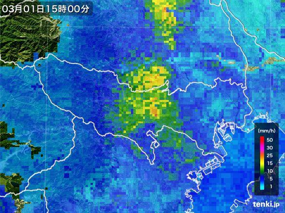 東京都の雨雲レーダー(2015年03月01日)