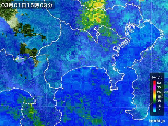 神奈川県の雨雲レーダー(2015年03月01日)