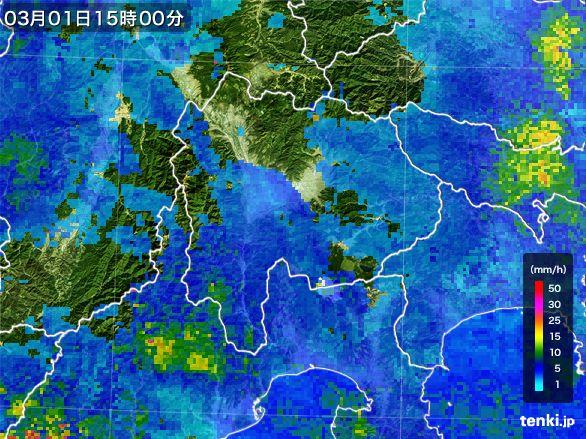 山梨県の雨雲レーダー(2015年03月01日)
