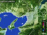 2015年03月02日の大阪府の雨雲レーダー