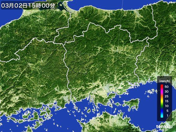 岡山県の雨雲レーダー(2015年03月02日)