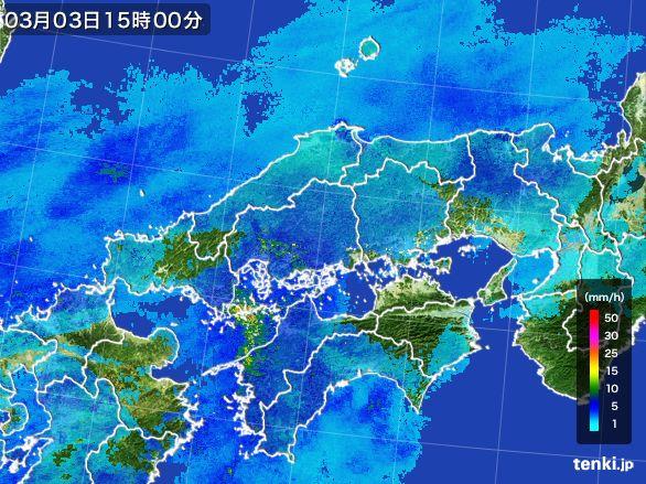 中国地方の雨雲レーダー(2015年03月03日)