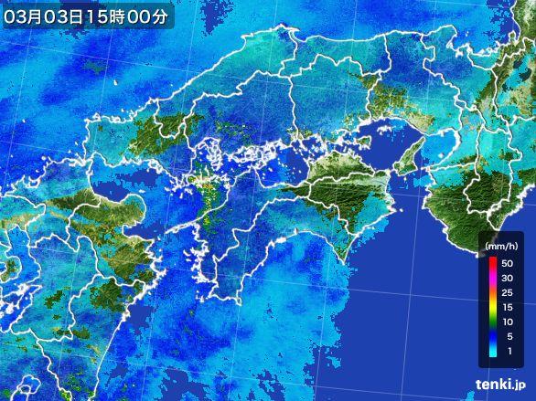 四国地方の雨雲レーダー(2015年03月03日)