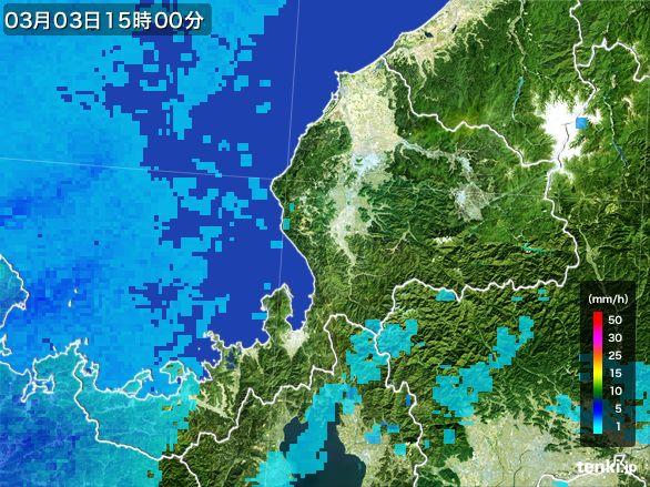 福井県の雨雲レーダー(2015年03月03日)