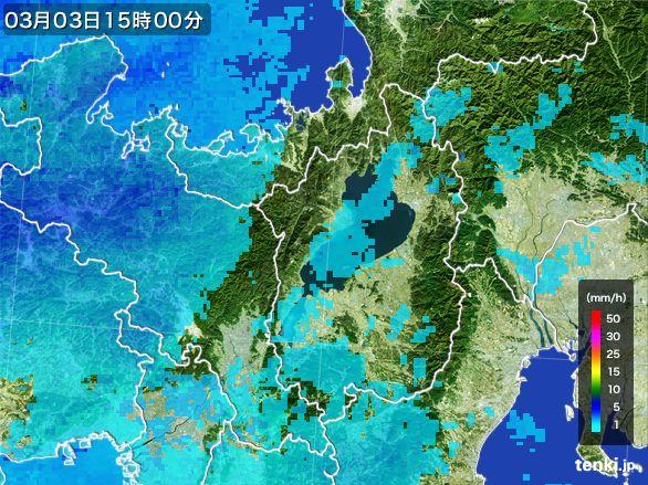 滋賀県の雨雲レーダー(2015年03月03日)