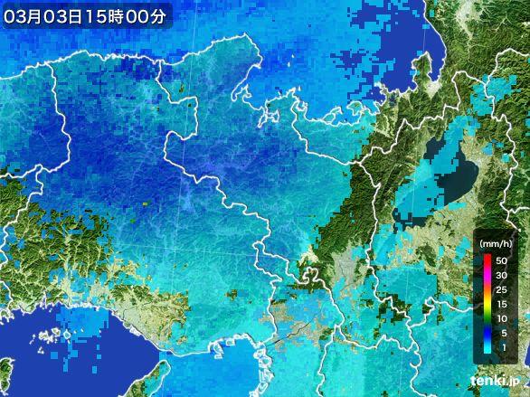 京都府の雨雲レーダー(2015年03月03日)