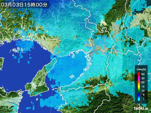 大阪府の雨雲レーダー(2015年03月03日)